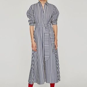 Zara Woman M striped maxi shirtdress